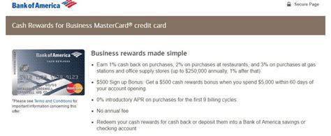 Bank Of America Business Credit Card