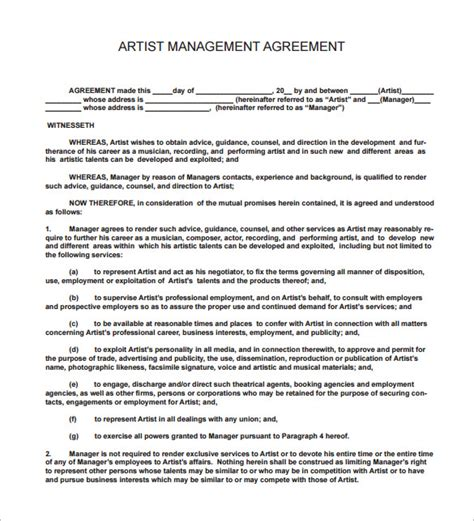 16 Music Contract Templates Free Word Pdf Documents Download Free Premium Templates Artist Investor Agreement Template