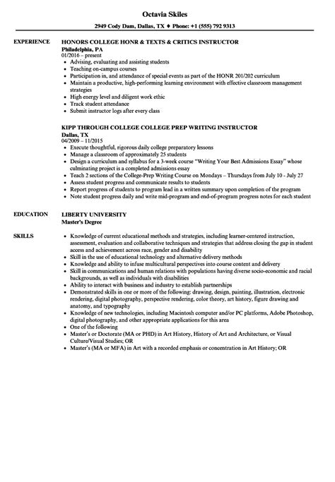 Instructor Resume by College Instructor Resume Sles Velvet