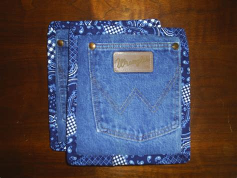 Handmade Denim - recycled upcycled handmade denim pot holders pads set of 2