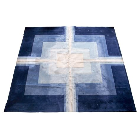 large blue rug large edward fields blue and white wool geometric rug at 1stdibs