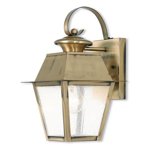Antique Brass Outdoor Lighting Livex Lighting Mansfield 1 Light Antique Brass Outdoor Wall Mount Lantern 2162 01 The Home Depot
