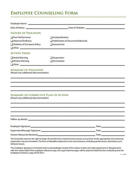 employee counseling form template employee counseling form 12 personnel management