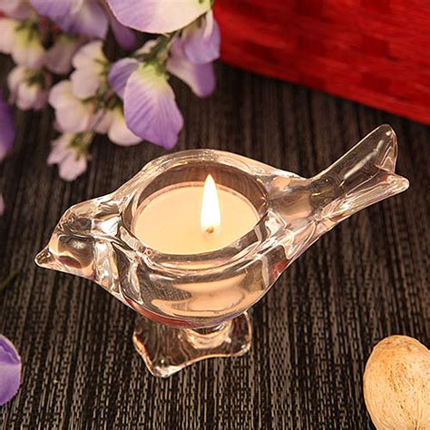 Glass Tealight Candle Holders In The Shape Of Candlesticks by Bird Bird Shaped Crystallike Glass Candle Holder