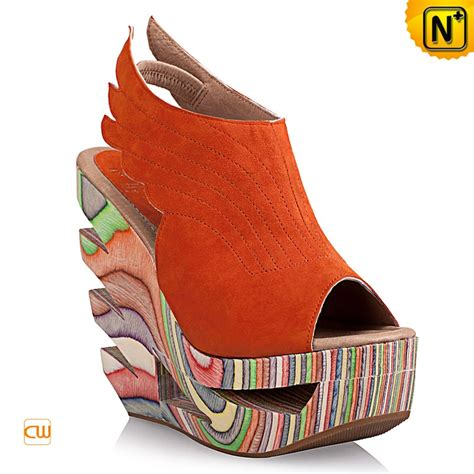 free shipping open toe painting wood heel wedges nubuck