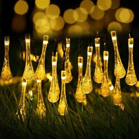 solar outdoor string lights 20led water drop string fairy
