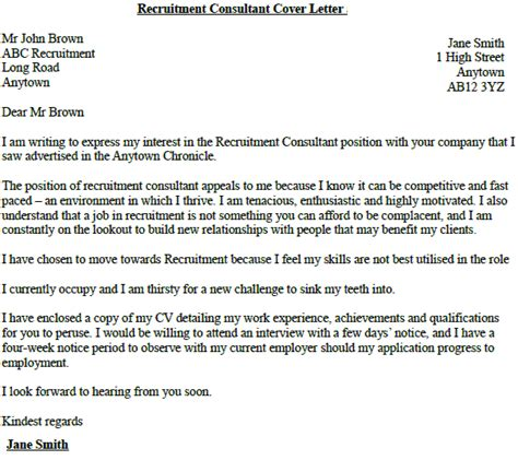 covering letter for recruitment consultant recruitment consultant cover letter exle lettercv