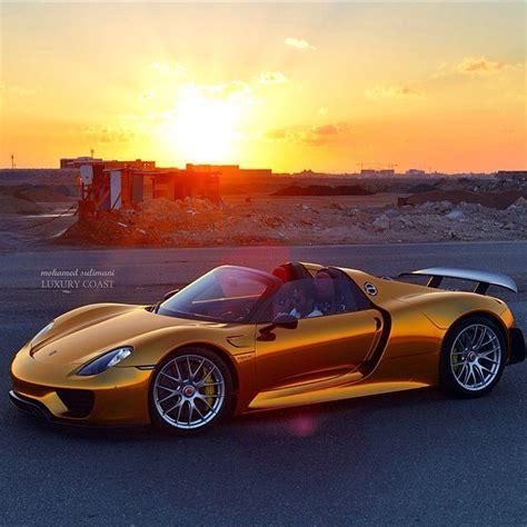 porsche gold first gold porsche 918 spyder autofluence
