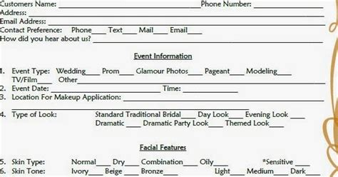 makeup consultation form template bridal makeup consultation form template mugeek vidalondon