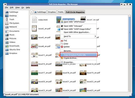 dropbox xfce get dropbox quot copy public link quot works on thunar file