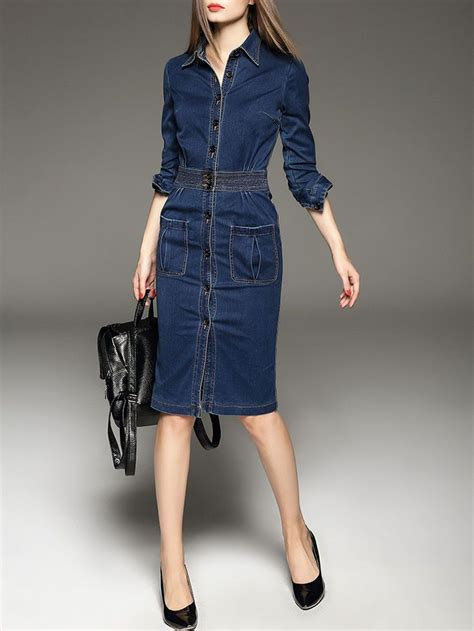 Dress Brukat Navy A v neck sleeve casual midi dress denim midi dress midi dresses and clothes