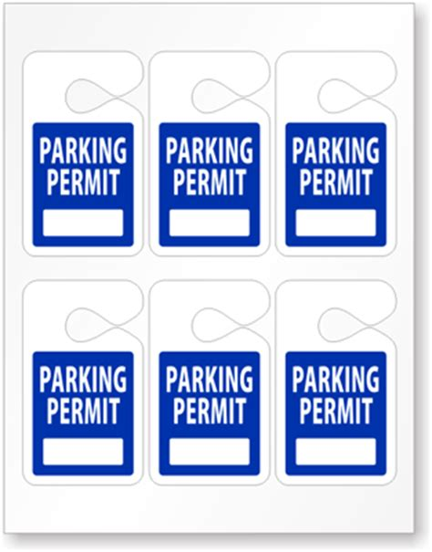 hanging parking permit template free laser printable 2 5 in x 4 25 in pre printed parking