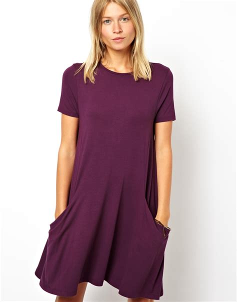 short sleeve swing dress asos swing dress with pockets and short sleeves in purple