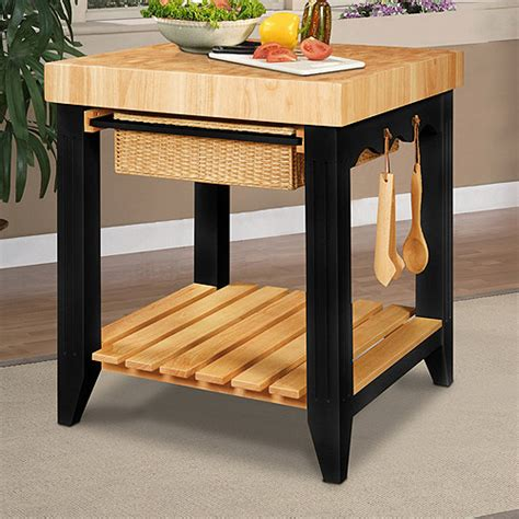 walmart kitchen islands kitchen island black and natural walmart com