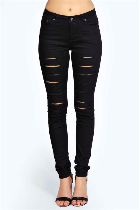 ripped black jeans womens bod jeans jess mid rise cut leg ripped skinny jeans