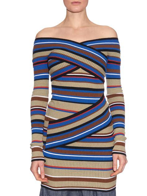 Striped Shoulder Sweater the shoulder striped sweater fit jacket