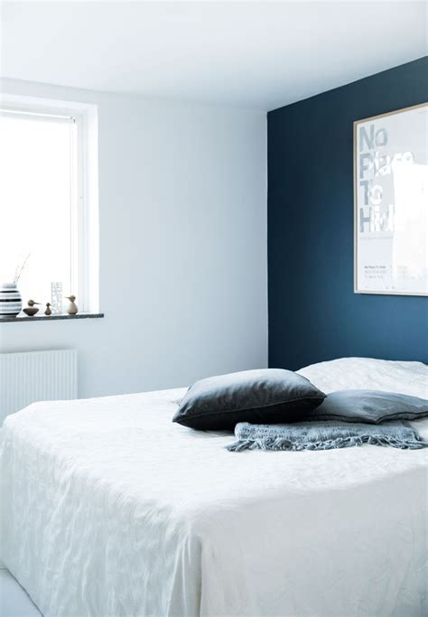 bedroom with blue walls decordots vintage meets modern in a danish apartment
