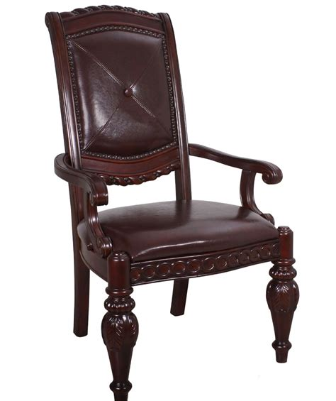 cherry brown leather set of 2 antoinette carved dark brown leather
