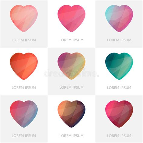 Colorful Set premium colorful set of geometric logo hearts icons in low poly style stock vector image 70197614