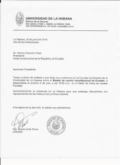 modelo carta de invitacion a conferencia patricio pazmi 241 o freire dictar 225 conferencia en la habana corte constitucional ecuador