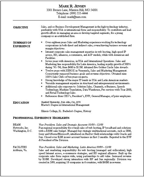resume for sales and marketing in word format 5 sles of marketing resume objective statements free
