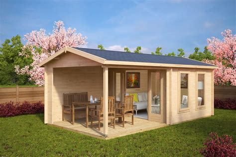 veranda holz diy garden log cabins summer house 24