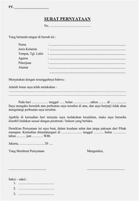 Contoh Surat Pernyataan Penempatan Kerja by 10 Macam Contoh Surat Pernyataan Kerja Terlengkap