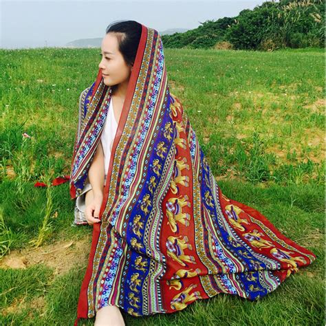 Ethnic Scarf ethnic scarves scarf shawl towel sunscreen vacation retro scarf other