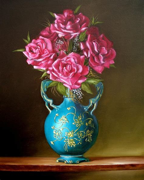 still of roses in blue vase painting by rb mcgrath