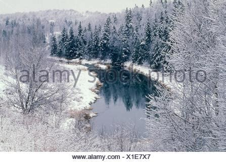 winter creek curve snow trees water reflections mysterious mist of nature open water of junction creek with fresh snow greater sudbury stock photo 27023627 alamy