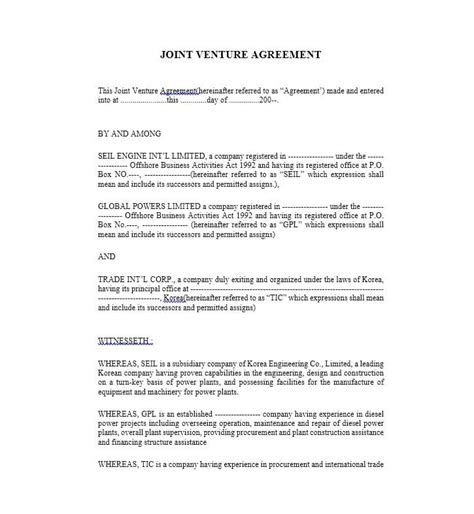 Simple Joint Venture Agreement Template Emsec Info Sba Joint Venture Agreement Template