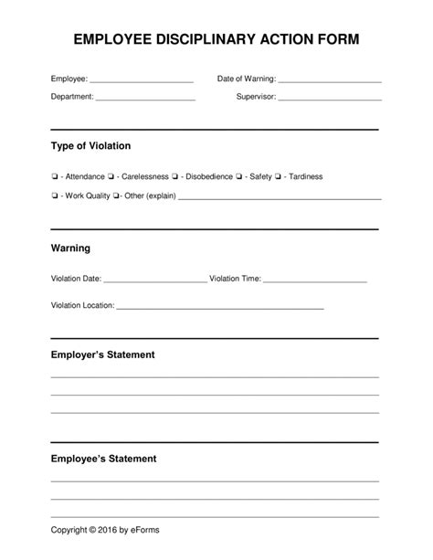 disciplinary write up form template free employee disciplinary discipline form pdf