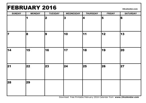 january 2016 calendar february 2016 calendar blank february 2016 calendar in printable format