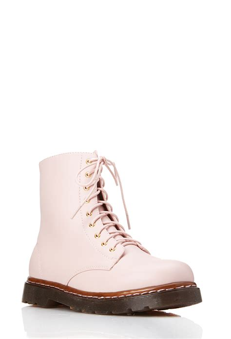 combat boots for forever 21 forever 21 sleek combat boots in pink lyst
