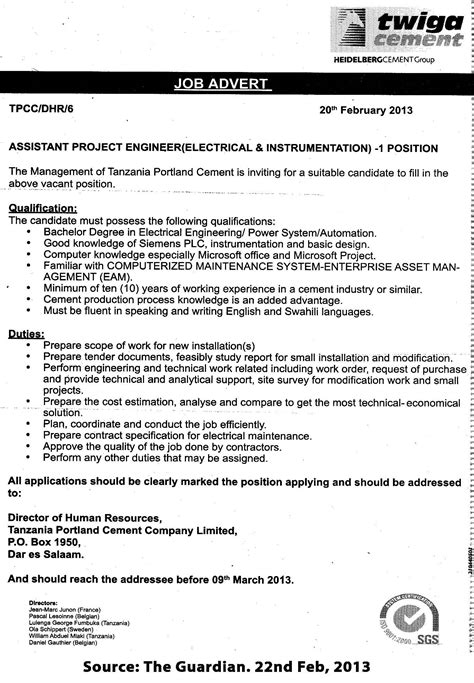 Assistant Project Engineer Cover Letter by Assistant Project Engineer Electrical Instrumentation Tayoa Employment Portal