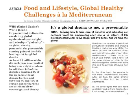 article cuisine quot food and lifestyle global healthy challenges quot article by
