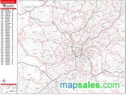 Cincinnati Zip Code Map by Cincinnati Ohio Zip Code Wall Map Red Line Style By