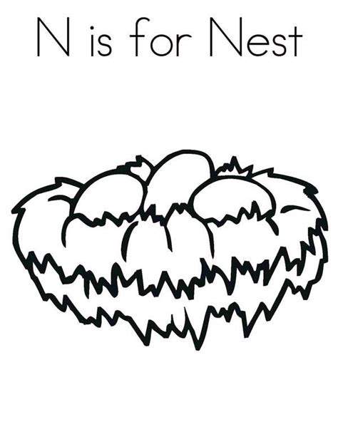 N For Nest Coloring Page by N For Nest Coloring Sheets Coloring Pages