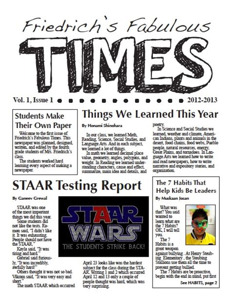 Learning To Teach In The Rain Creating A Classroom Create A Newspaper Template Best Template Idea