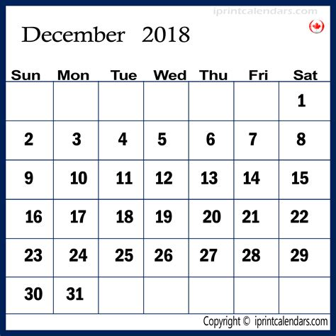 printable december calendar canada december 2018 calendar canada monthly printable calendar