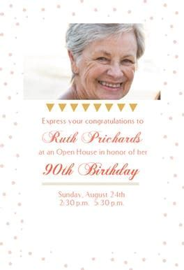 90 Open House Party   Free Birthday Invitation Template