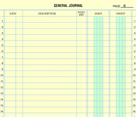accounting general journal template october