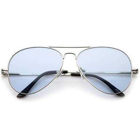 Metal Aviator Sunglasses sunglassla classic metal frame colored teardrop lens