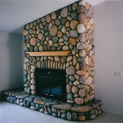 River Rock Veneer Fireplace by Fireplaces Masonry And Exterior Remodeling For Traverse