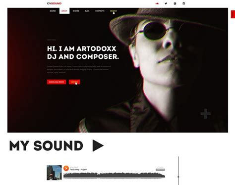 Musical Website Templates by Free Cvsound Musical Psd Web Template Titanui