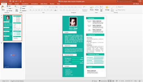 Powerpoint Resume Template by Cv Powerpoint Template Free Single Slide Resume