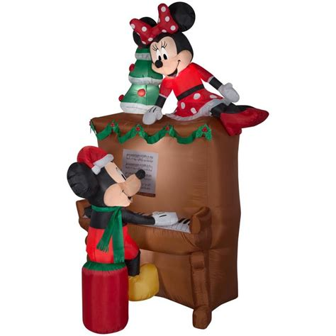 mickeyunlimited electric christmas decorations shop disney airblown mickey and minnie piano at lowes
