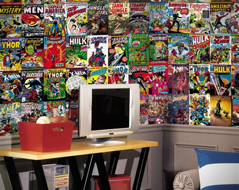 comic bedroom ideas marvel comic books wallpaper mural hiconsumption