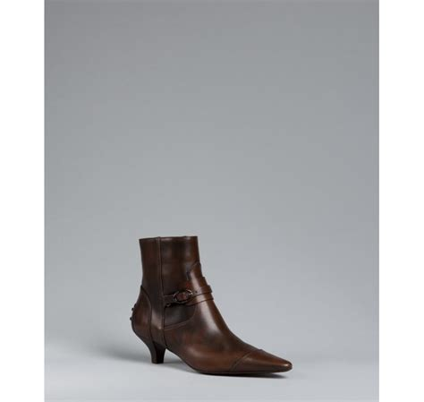 tod s cocoa leather pointed toe kitten heel ankle boots in