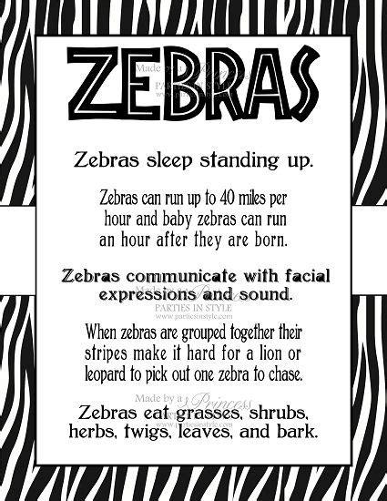 zebra printable information safari wild adventure printable 8x10 zebra facts poster